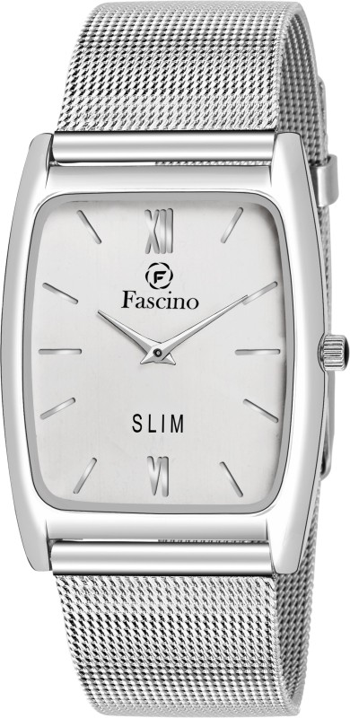 fascino Square Slim Watch With Silver Dial, Schaffer Chain Belt FCW 2241-SL Analog Watch - For Men