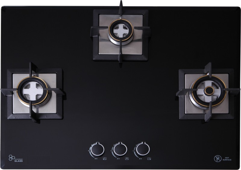 Seavy 3 Burner Built In Hob (Mega Max) Glass, Steel Automatic Gas Stove(3 Burners)