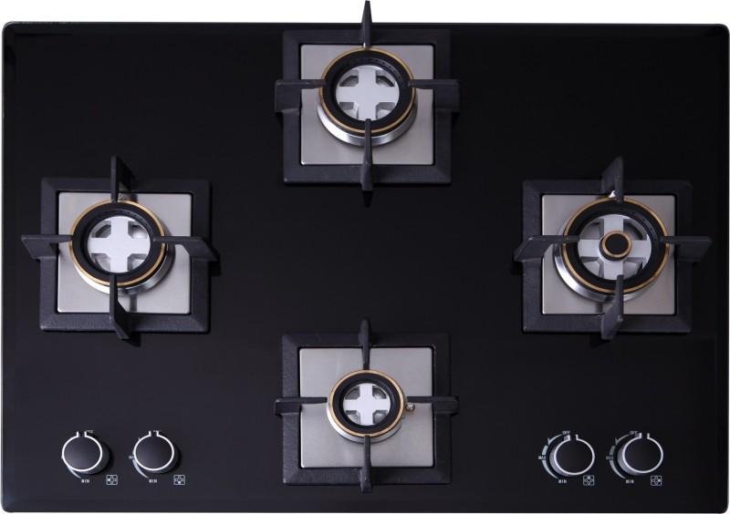 Seavy 4 Burner Built in Hob (Mega Max) Glass, Steel Automatic Gas Stove(4 Burners)
