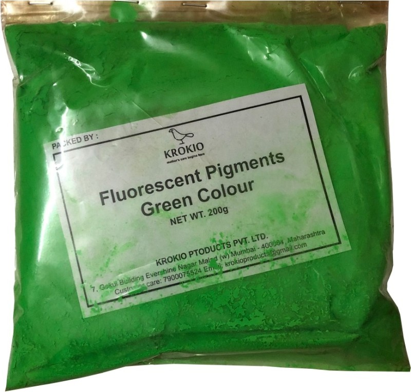 krokio Fluorescent Pigment Powder For Candle Making Colors (Dye) Pack Of 200gm (Green) Wax Color(200 g)