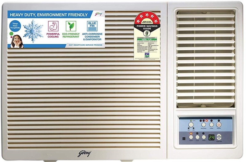 Godrej 1 Ton 5 Star Window AC - White(GWC 12UTC5-WSA Window 5S, Copper Condenser)