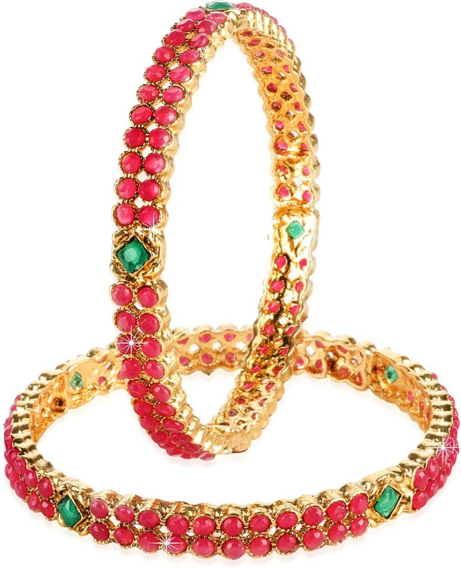 Yellow Chimes Metal Ruby Gold-plated Bangle Set(Pack of 2)
