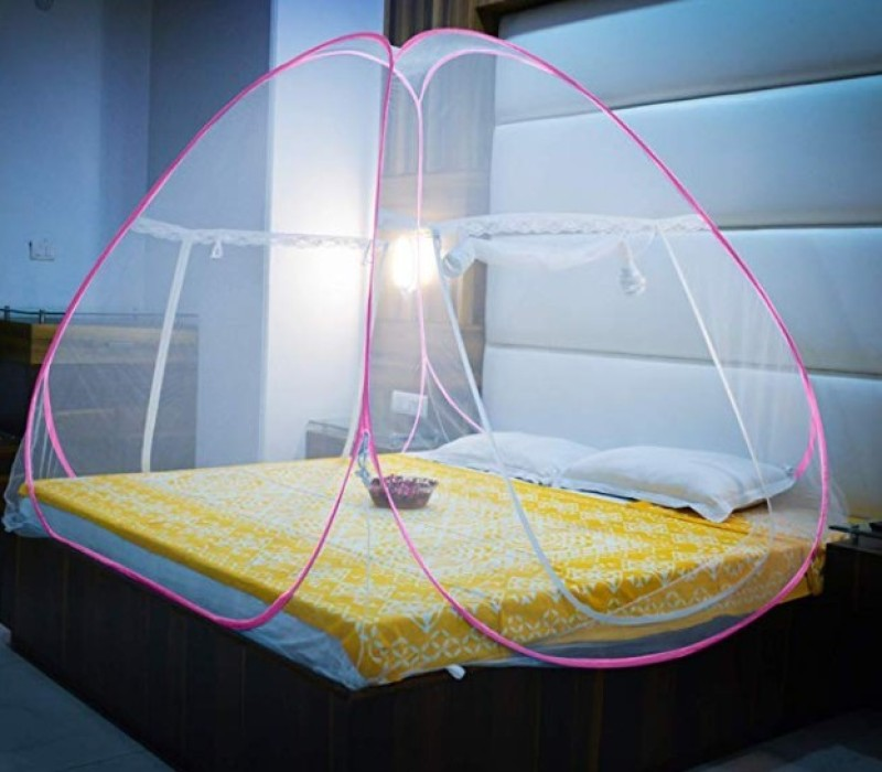 Shudha Polyester Adults Net Double bed Mosquito Net(Pink, Green)