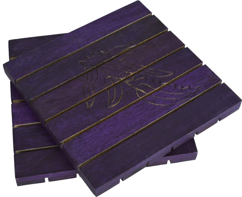 Style My Way Purple Wooden Trivets Set Polished Trivet(Pack of 2)