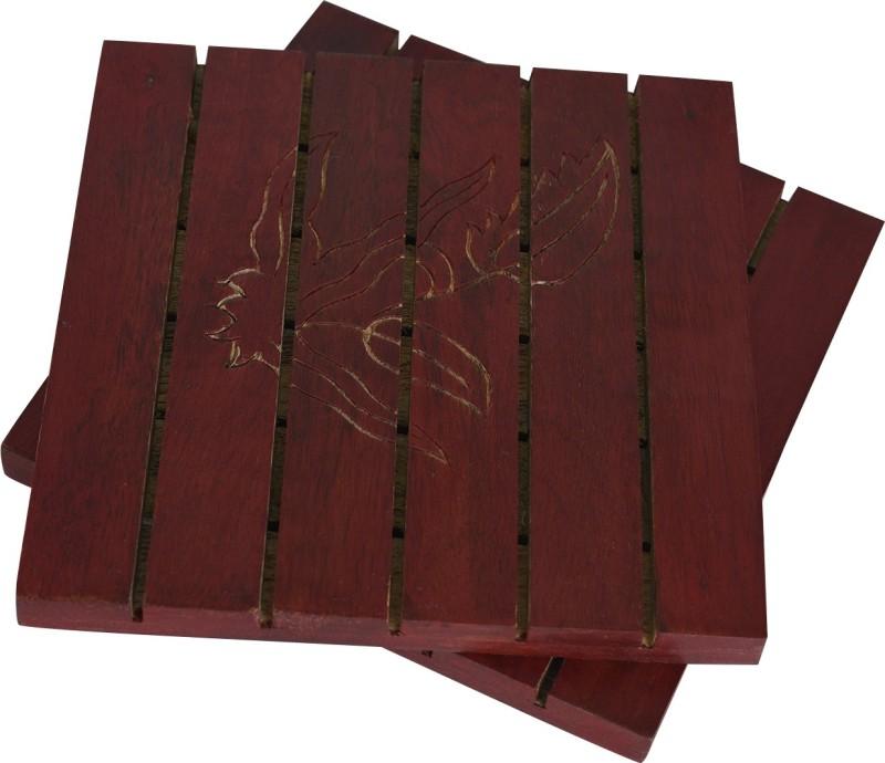 Style My Way Handcarved Red Wooden Trivets Set Polished Trivet(Pack of 2)