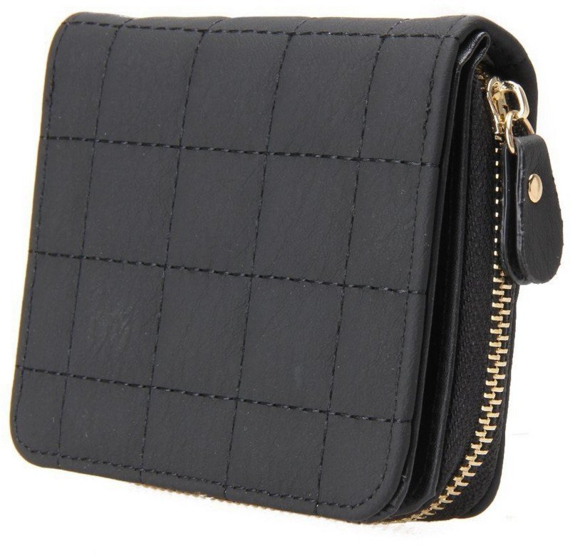 Elios Women Casual Black Artificial Leather Wallet(8 Card Slots)