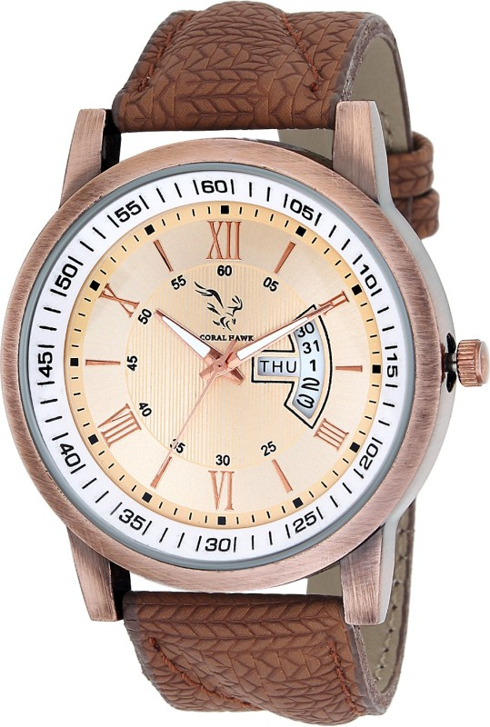 CORALHAWK Watches Strap Brown Day and Date Display Strap Leather Coralhawk CH023 brown watch for men Analog Watch - For Men