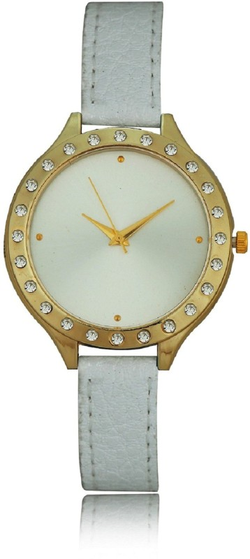Geneva Platinum Big Dial Studded Solid Analog Watch - For Women