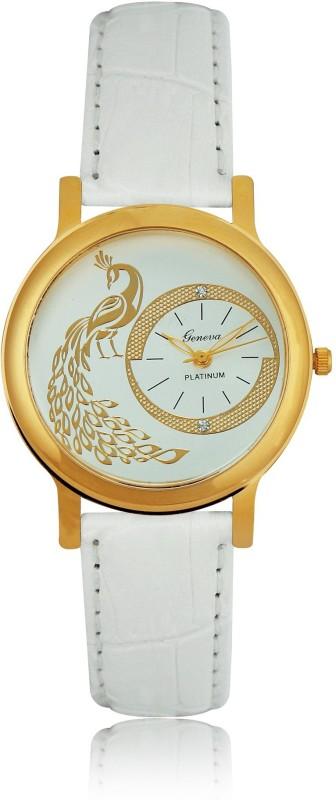 Geneva Platinum Peacock Dial Analog Watch - For Women