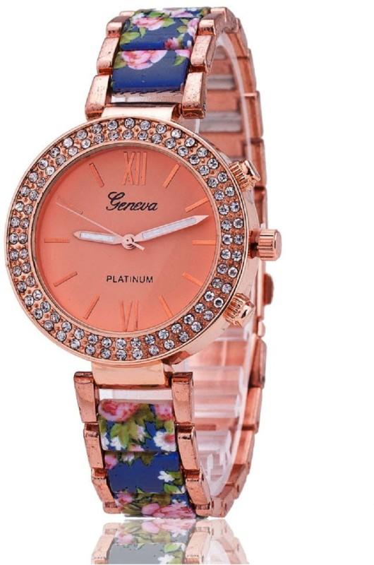 Geneva Platinum Big Dial Designer Floral Strap Analog Watch - For Women
