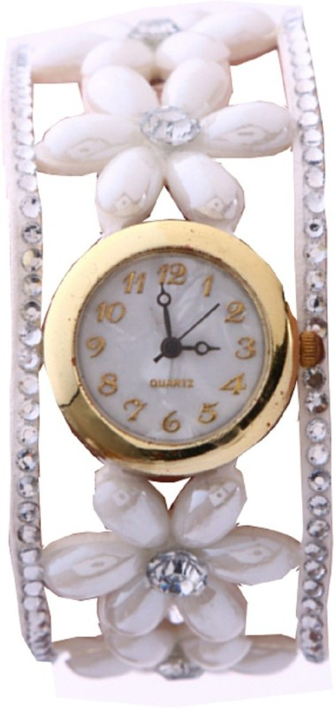 Geneva Platinum Pearl Flower Wrap Around Analog Watch - For Women