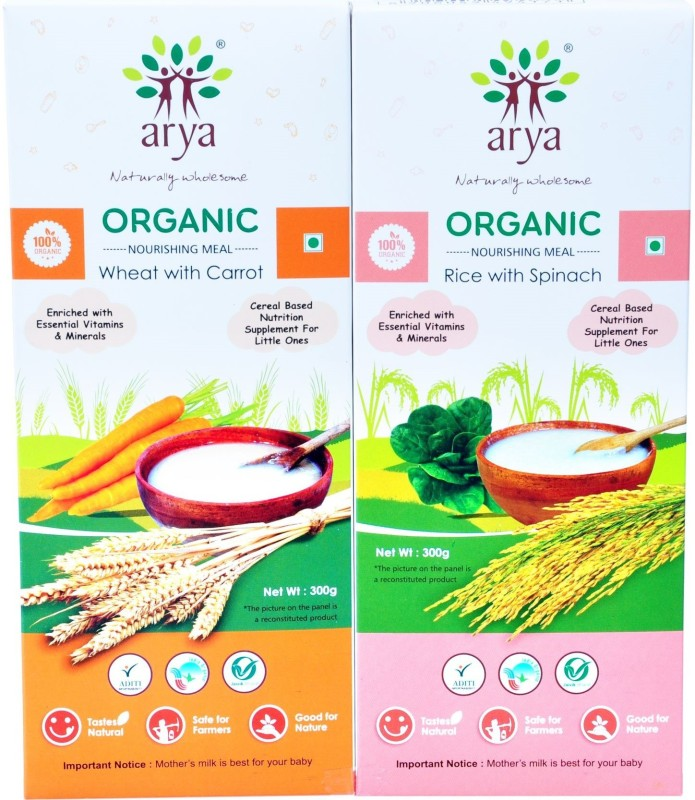 Arya Meal-Rice with Spinach (300g), Meal-Wheat With Carrot (300g) Carrot, Fruity Flavored Powder(600 g, Pack of 2)