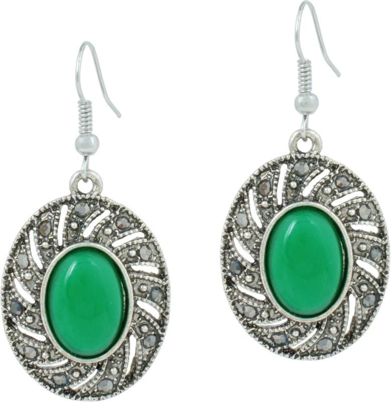 Memoir Memoir Antique finish vintage silver plated Emerald look marcasite studded hoop Fashion earrings for Women and Girls Brass Drops & Danglers
