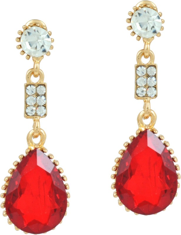 Memoir Memoir Gold plated Red Quartz and CZ studded dangler Fashion earrings for Women Cubic Zirconia Brass Drops & Danglers