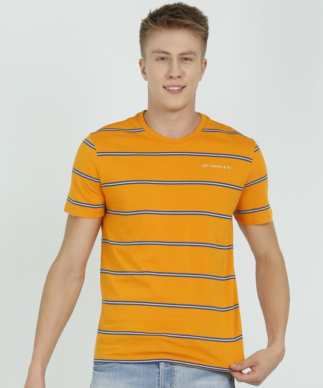Levi's Striped Men Round Neck Yellow T-Shirt