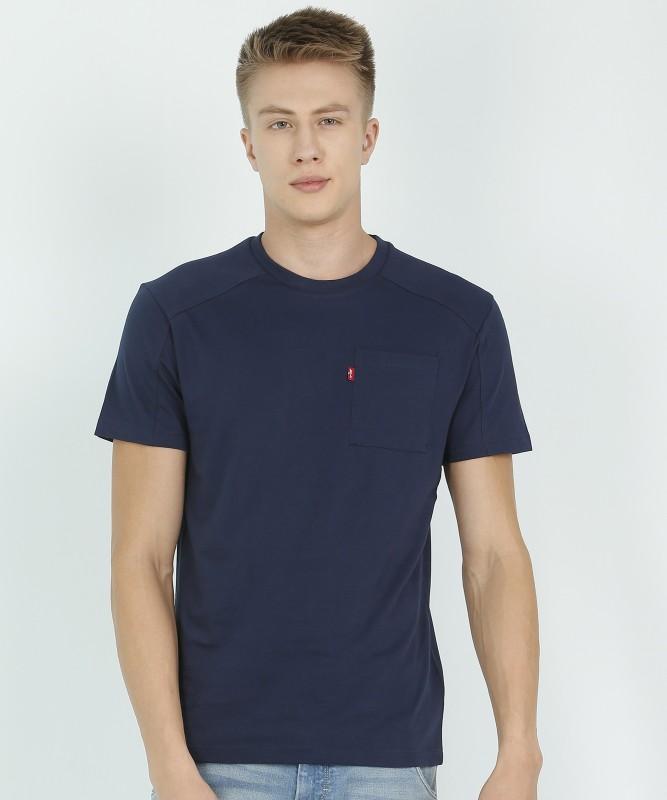 Levi's Solid Men Round Neck Dark Blue T-Shirt