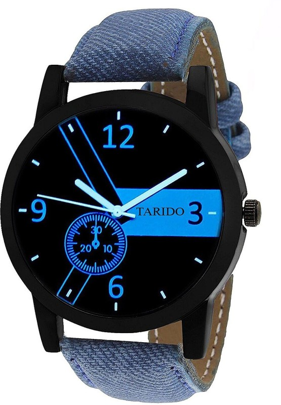 Tarido TD1529NL01 New Exclusive Black dial blue jeans with leather strap analog wrist Analog Watch - For Men