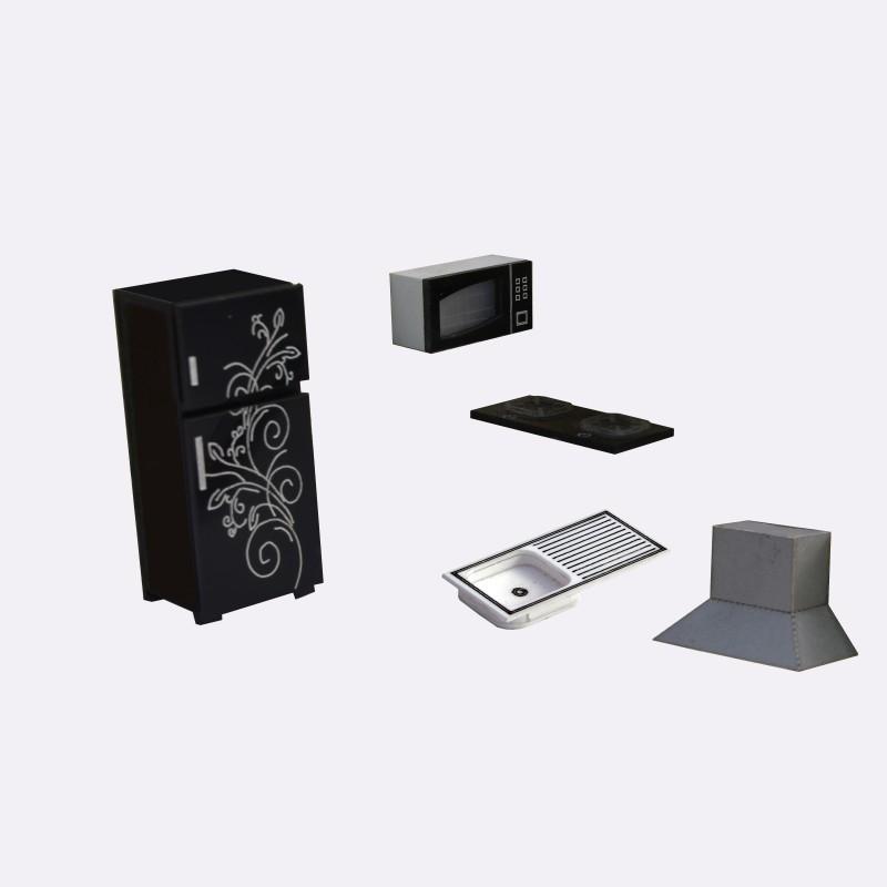 R D MODELS Fridge+Gas stove+sink+microwave+chimney (Scale 1:25) Model Building Kit