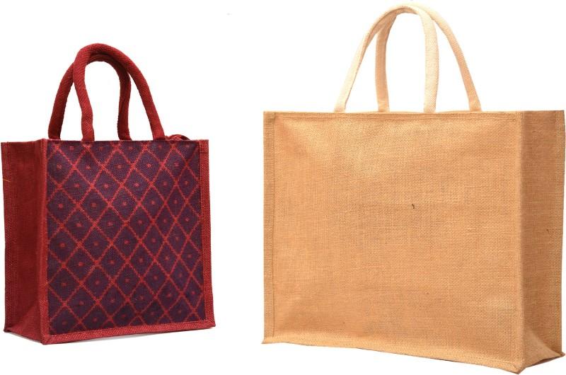AGGDA **2 BAGs CMBO**Large Big Size Handbag Bag Working Office Bag to Carry Grocery Bag &&Jute Tiffin Lunch Handbag Waterproof Multipurpose Bag(Multicolor, 16 L)