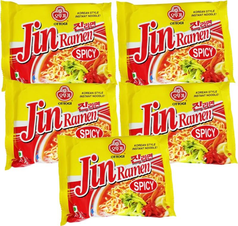 Ottogi Jin Spicy masala noodles _5 Instant Noodles Vegetarian(5 x 24 g)