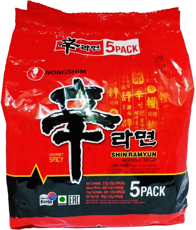 Nongshim Shin ramyun masala noodles _5 Instant Noodles Vegetarian(5 x 100 g)
