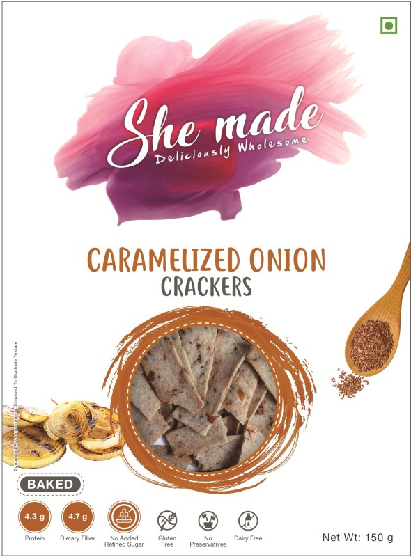 She Made Crackers - Caramelized Onion Pack of 1(150 g, Pouch)