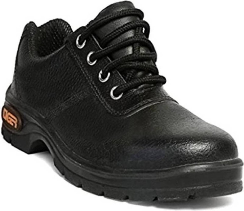 mallcom tiger safety shoes pu sole isi with steel toe Boots For Men(Black)