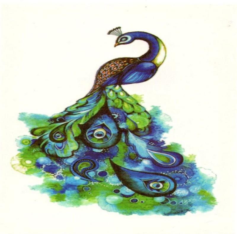 TattooStore.IN 7447500881860(Beautiful Peacock Blue & Green Colour Design Body Art Temporary Waterproof Tattoo Stickers)