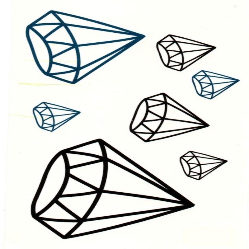 TattooStore.IN 7447522310379(Black and Blue Colour Diamond Shape Design Body Art Temporary Waterproof Tattoo Stickers)