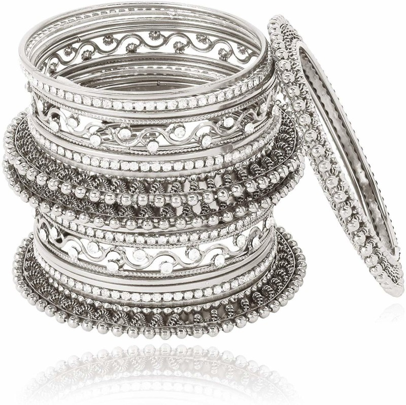 Shining Diva Alloy Cubic Zirconia Silver Coated Bangle Set(Pack of 18)