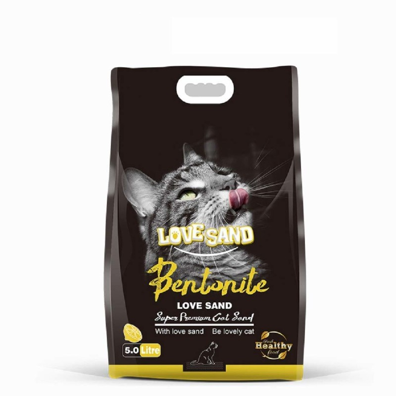 Foodie Puppies Clumping Love Sand Bentonite Cat Litter (Lemon, 5L) Pet Litter Tray Refill