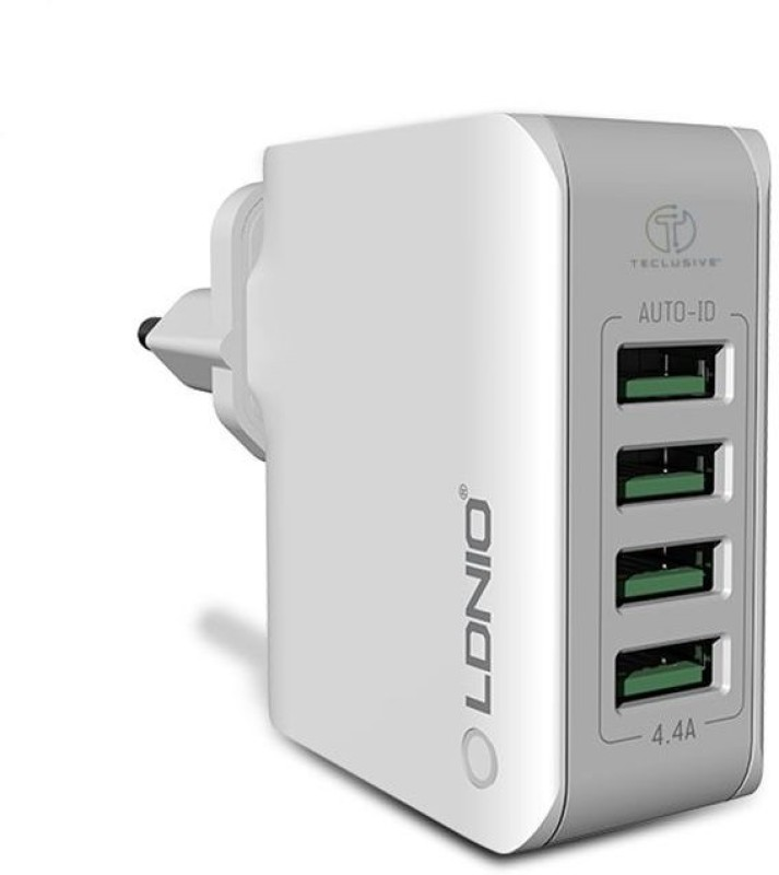 TECLUSIVE 4 USB Multi Mobile Wall Charger || Mobile Charger(White)