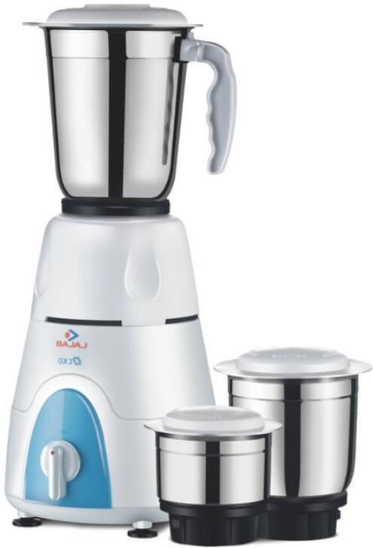 Bajaj GX3 500 mixer grinder 500 Mixer Grinder(White, Blue, 3 Jars)