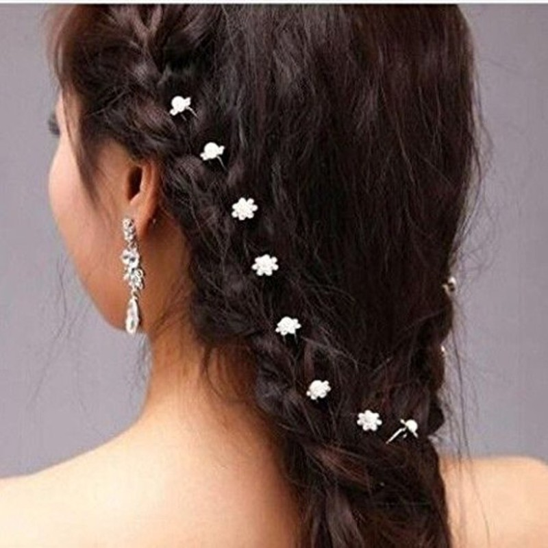 Lovely Arts Collection Lovely 12 pcs. Set Silver Crystal Rhinestone Hair Pin(White)