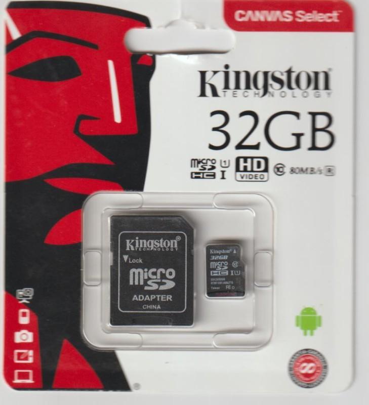Kingston SDCS CLASS 10 32 GB MicroSDHC Class 10 80 MB/s Memory Card
