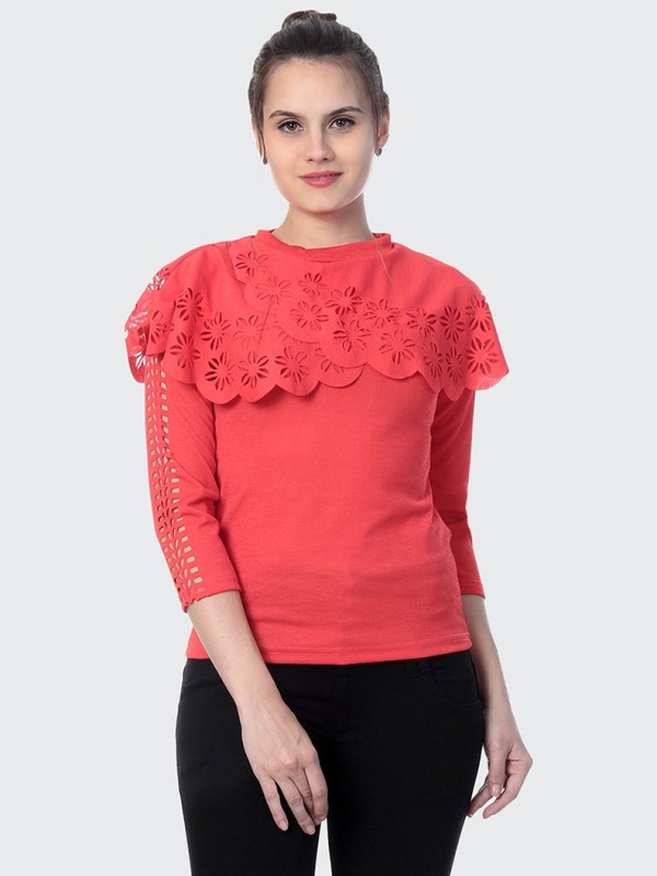 BuyNewTrend Casual 3/4 Sleeve Solid Women Pink Top