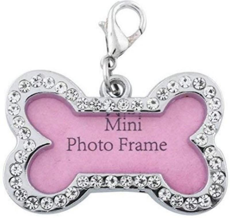 Kiki N Pooch Mini Frame Pendant Embellished Cat Collar Charm(Silver Steel, Bone)