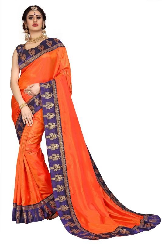 Lake Prints Solid Rajshahi Silk Blend Saree(Orange)