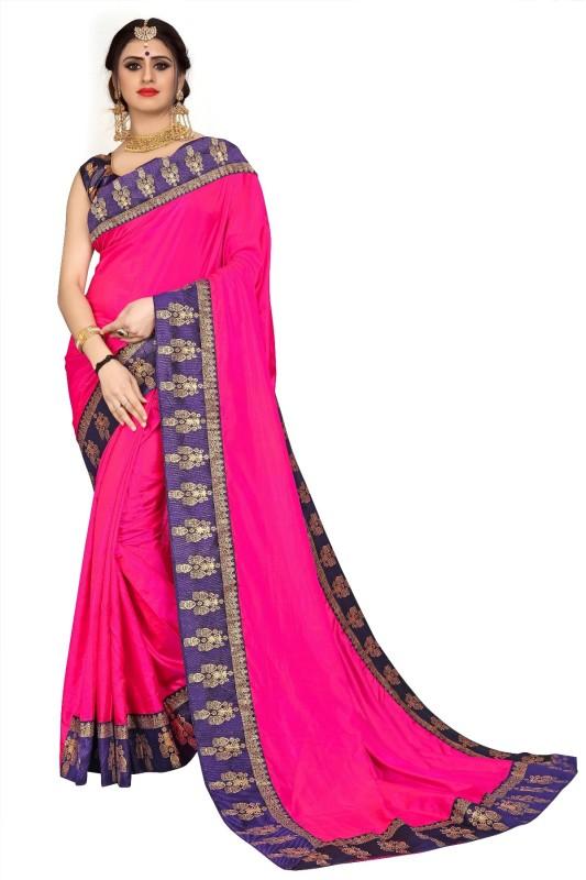Lake Prints Solid Rajshahi Silk Blend Saree(Pink)