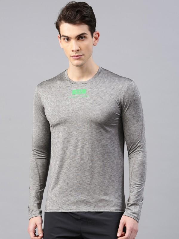 HRX by Hrithik Roshan Self Design Men Round Neck Grey T-Shirt