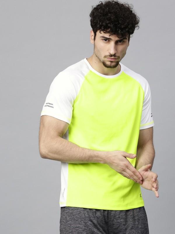 HRX by Hrithik Roshan Color Block Men Round Neck Light Green T-Shirt