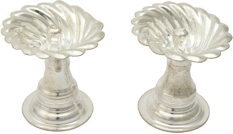 Navbharat Silver Plated (Pack of 2) Table Diya Set(Height: 3 inch)