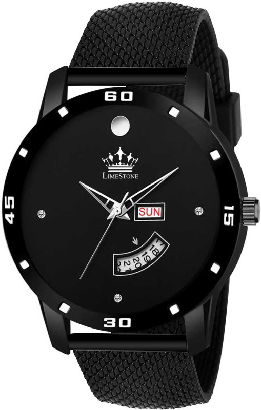 LimeStone LS2804 All Black Mesh Strap Day and Date Functioning Quartz Analog Watch - For Men