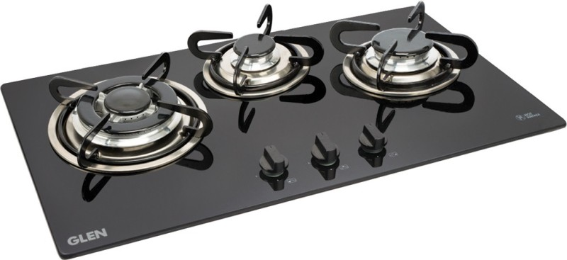 GLEN 1073 TR Built in Hob Glass Automatic Gas Stove(3 Burners)