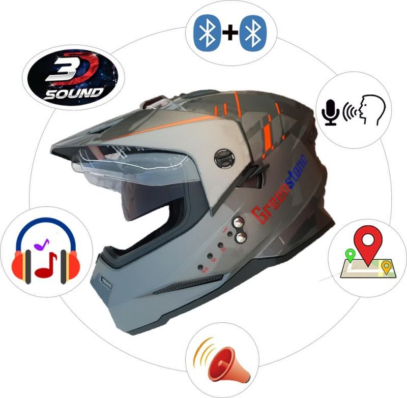 Greenstone G6 Moto Smart Bluetooth Helmet with Voice Assistance Motorbike Helmet(Grey & Red)