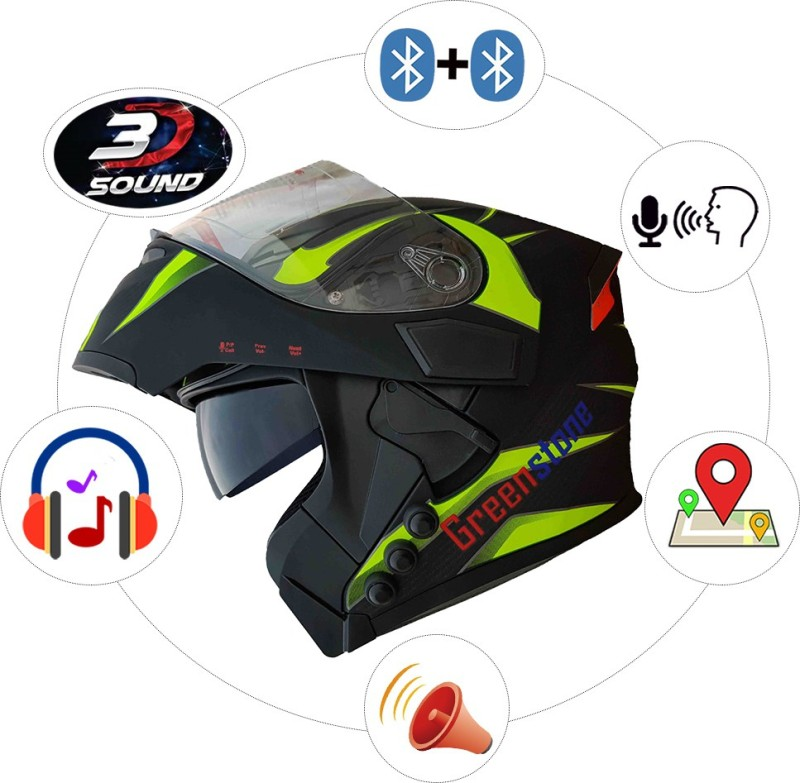 Greenstone G6 Flip-Up Smart Bluetooth Helmet with Voice Assistance Motorbike Helmet(Black & Green)