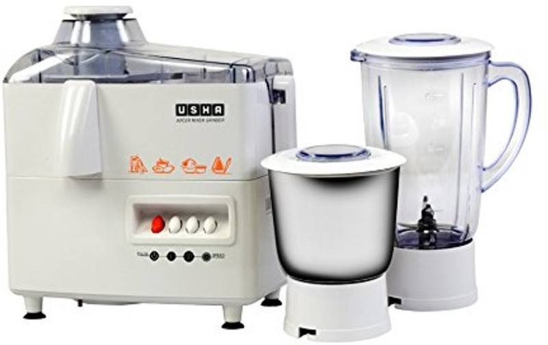 Usha 3345, Watt 450 Juicer Mixer Grinder(White, 2 Jars)