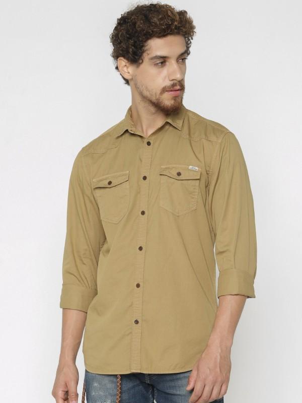 Jack & Jones Men Solid Casual Brown Shirt