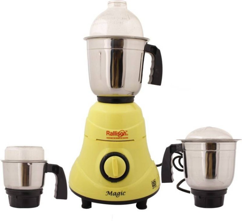 Rallison Appliances Magic RS_20 550 Mixer Grinder(Yellow, 3 Jars)
