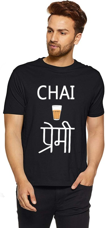 INDIRAGE Printed Men Round Neck Black T-Shirt